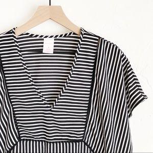 Xhilaration Black/White Stripe Top/Swim Cover Up